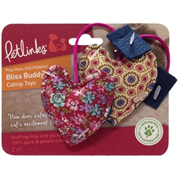 Petlinks Bliss Buddy Heart Tea Bags 100% Catnip Set of 2