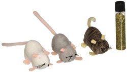 Petlinks Lil' Creepers Mice Refillable w/Catnip Tube Set of 3