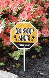 """No Poop Zone Garden Sign 8"""" x 8"""""""