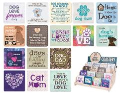 Single Square Coaster Assortment (6 each of 16 Designs - best sellers or custom choice)