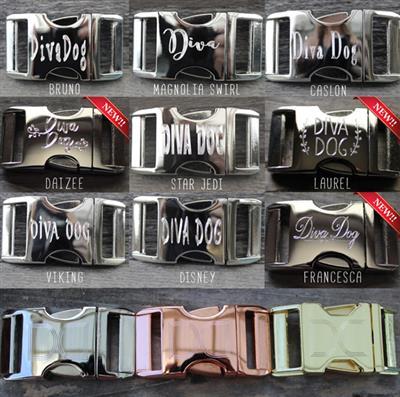 Harlequin Pink Collar Silver Metal Buckles