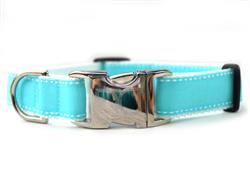 Preppy In Blue Collar Silver Metal Buckles