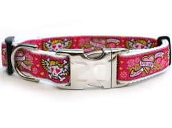 Wild One Pink Collar Silver Metal Buckles