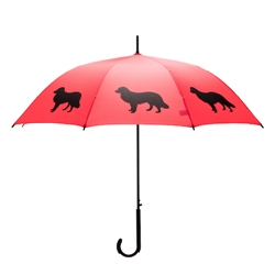 Border Collie Umbrella Black on Red