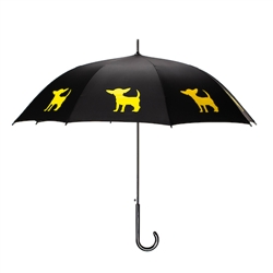 Chihuahua Umbrella Gold on Black
