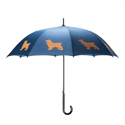 Cocker Spaniel Umbrella Beige on Navy Blue