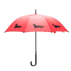 Dachshund Long-Haired Umbrella Black on Red