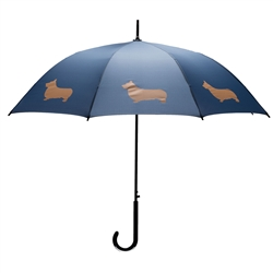 Welsh Corgi Umbrella Tan on Navy Blue