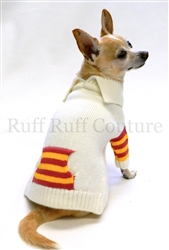 French Collar White Red and Yellow Stripes Sweater by Ruff Ruff Couture®