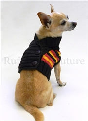 Shawl Collar Brown Red and Yellow Stripes Double Breasted Sweater by Ruff Ruff Couture®