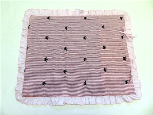 Mat for cooling pads in Pink Seersucker with Crown Embroidery by Ruff Ruff Couture