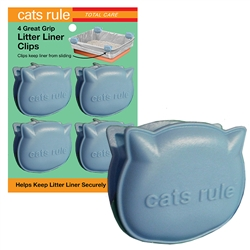 Cats Rule Great Grip Litter Liner Clips - Blue