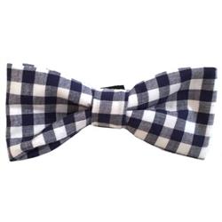 Navy & White Checkerboard Plaid Bowties