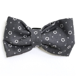Grey with White Print Bowties