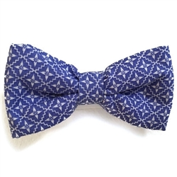 Blue & White Print Bowties
