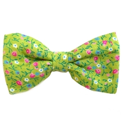 Green Flowers Print Bowties