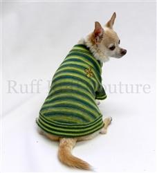 Fleur de lis Green Stripes Sweater by Ruff Ruff Couture®