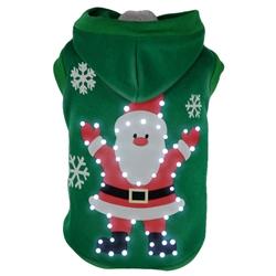 Led Lighting Hands-Up-Santa Pet Hoodie