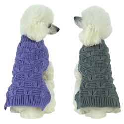 Heavy Cable Knitted Fashion Turtle Neck Dog Sweater