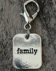 Family Silver Collar Charm