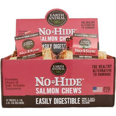 Earth Animal No Hide Salmon Chews Dog Treats, 27 Count Display Box