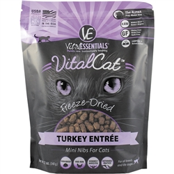 Vital Essentials Freeze Dried Tender & Tasty Turkey Nibblets for Cats - 12 oz